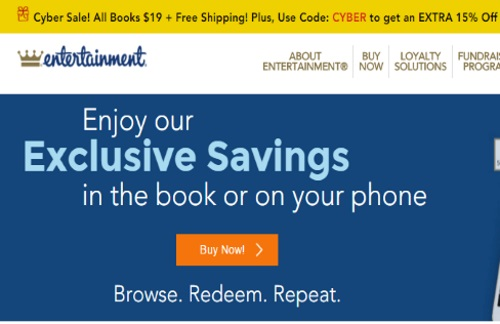 Entertainment Coupon Books Cyber Monday $19 + Free Shipping + Extra 15% off Promo Code