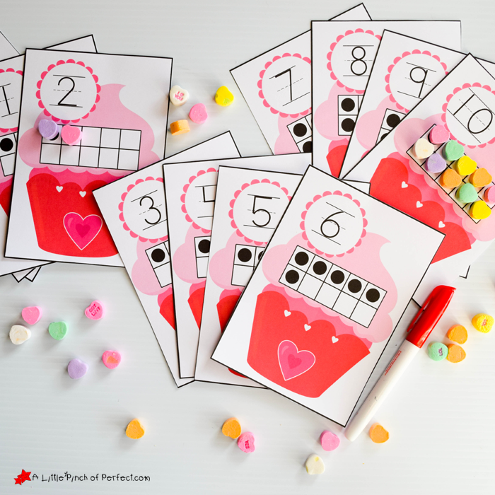 Free 10-Frames Valentine\'s Day Math Printables -