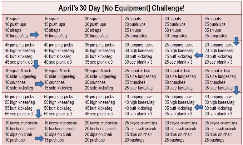 30 Day Workout Calendar Printable Calendar Template 2016