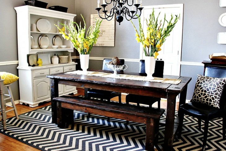 Cottage of the week updates home decor garden decor and for Grey and yellow dining room ideas