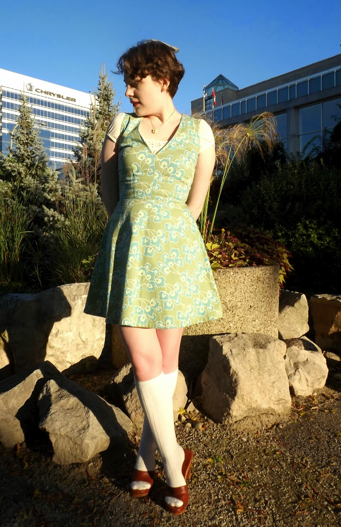 vintage inspired fashion, Dilly Daisy, Windsor riverfront, Chrysler building, windsor fashion blogger, green dress, green pattern, knee socks, sound of music inspired, Suzanne Amlin, A Coin For the Well, dirndl