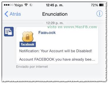 Mensaje Falso para robar cuentas Facebook - MasFB