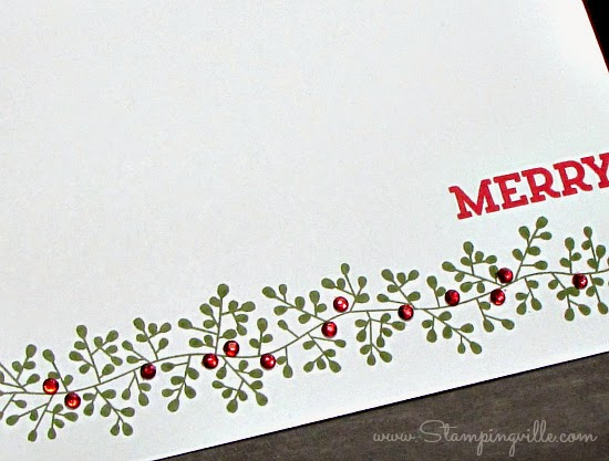 "Rhinestone ""holly berries"" colored with Blendabilities Markers 