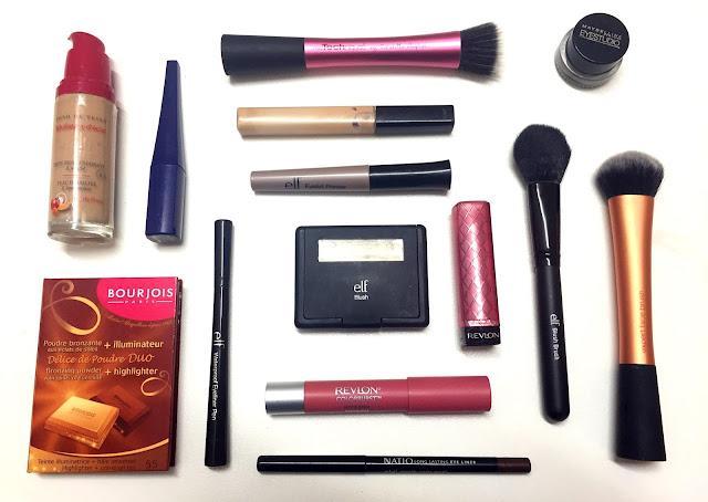 I heart drugstore makeup tag bourjois, elf, maybelline, revlon, lipstick, foundation, eyeliner, eyebrows, brushes, real techniques
