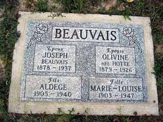Tombstone of Joseph Beauvais and members of his family