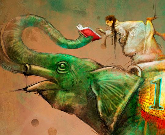 Poster decorativo con ilustración surrealista