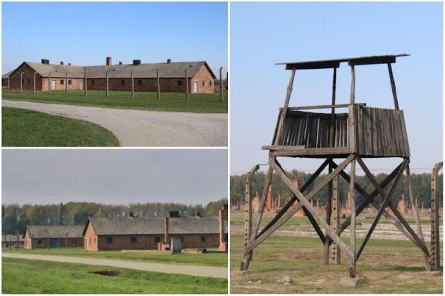 Barracones y torre de vigilancia en el campo de concentración de Auschwitz II - Birkenau