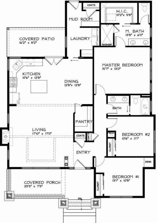 Plano y fachada de casa habitaci n de una planta o nivel for Planos de casas de una habitacion