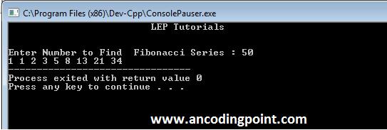 Fibonacci Series in C++ Program