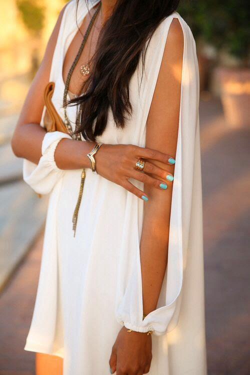 Summer fashion for women.in white dress