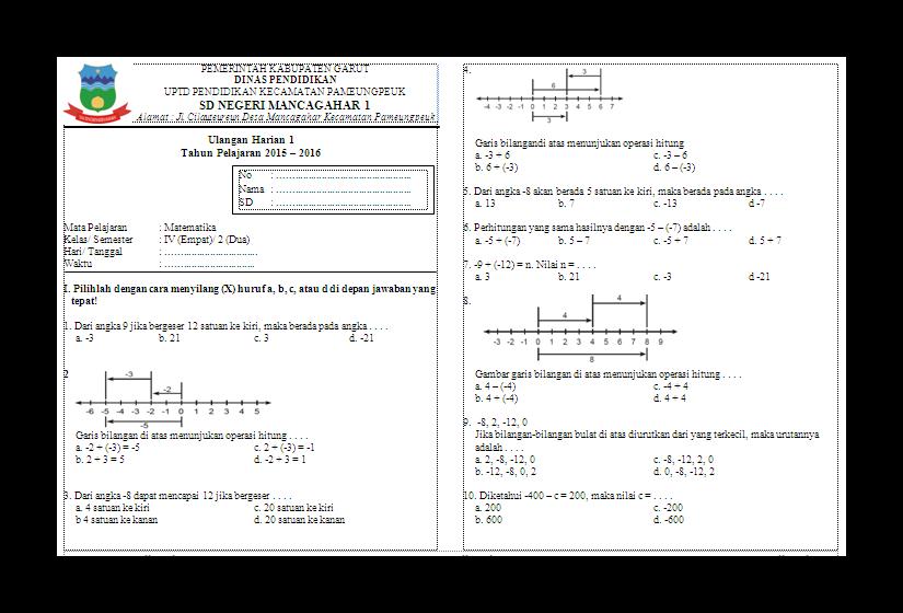 Kumpulan Soal Ulangan Harian Matematika Kelas 4 Semester 2 Sd Mi Tahun Pelajaran 2015 2016