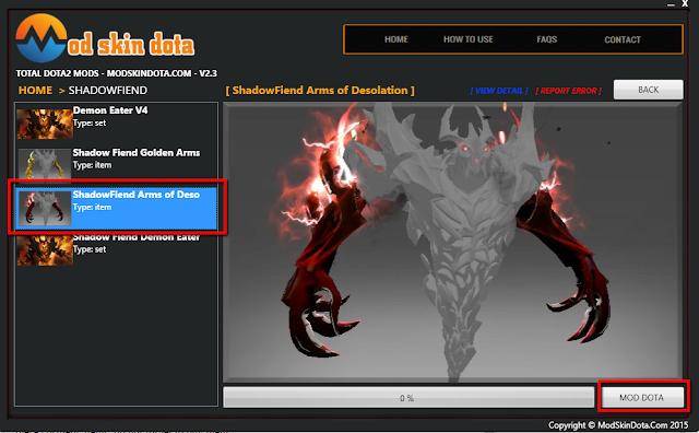 Shadow Fiend Arms of Desolation item mod