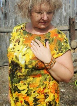 летнее платье для полных из яркой ткани