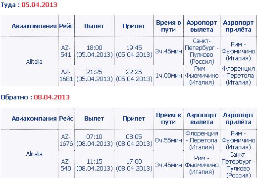 Расписание авиарейсов