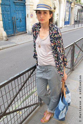 Matières à réflexion sac cabas jeans bleu Patch