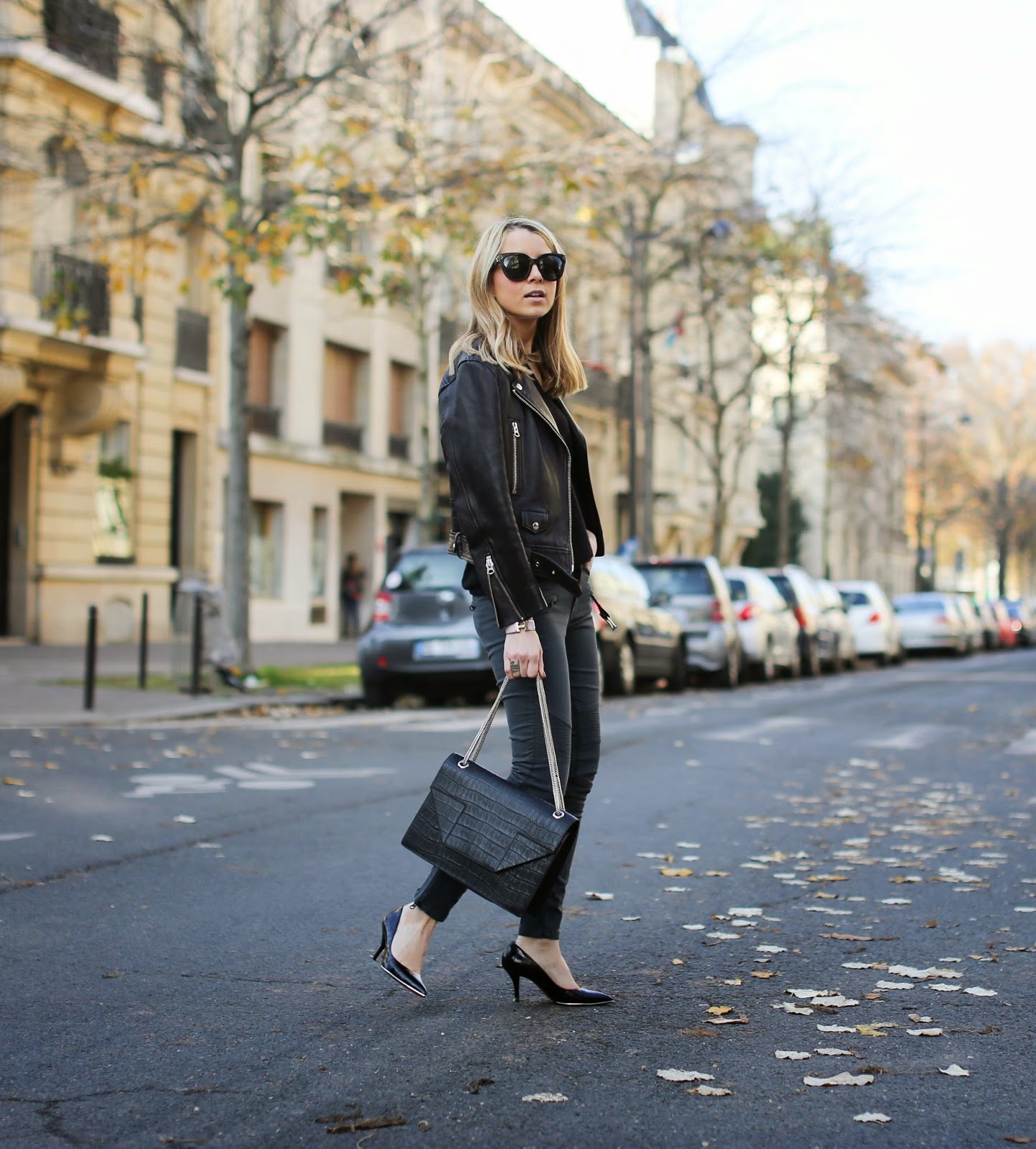 leather jacket, acne studios, perfect jeans, givenchy, saint laurent, edgy, streetstyle, fashion blogger, croc