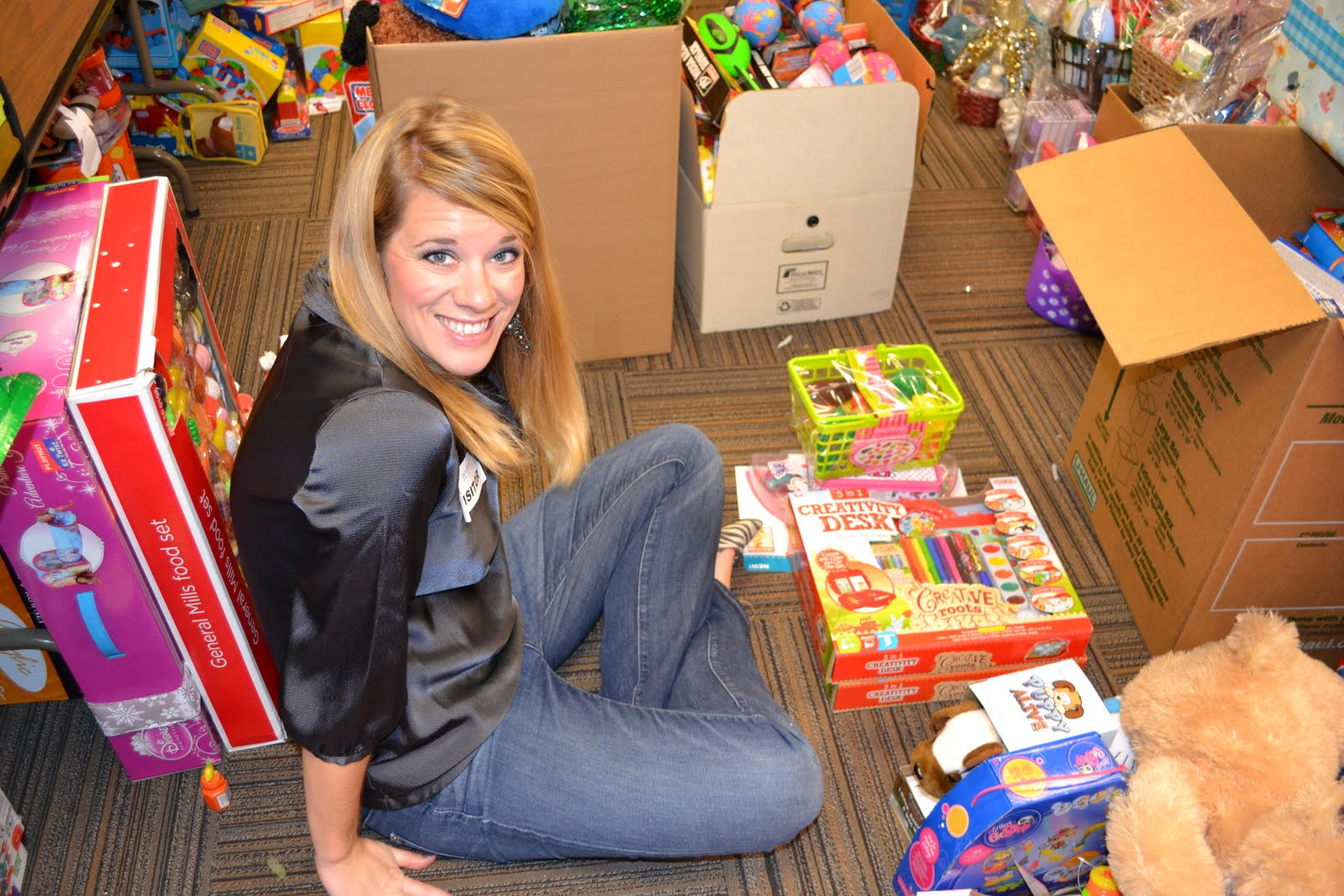 Our job was to help categorize and organize the donated toys into age  groups and tally