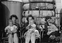 Ian Munroe and his mother Frances on board the Queen Mary June 1946