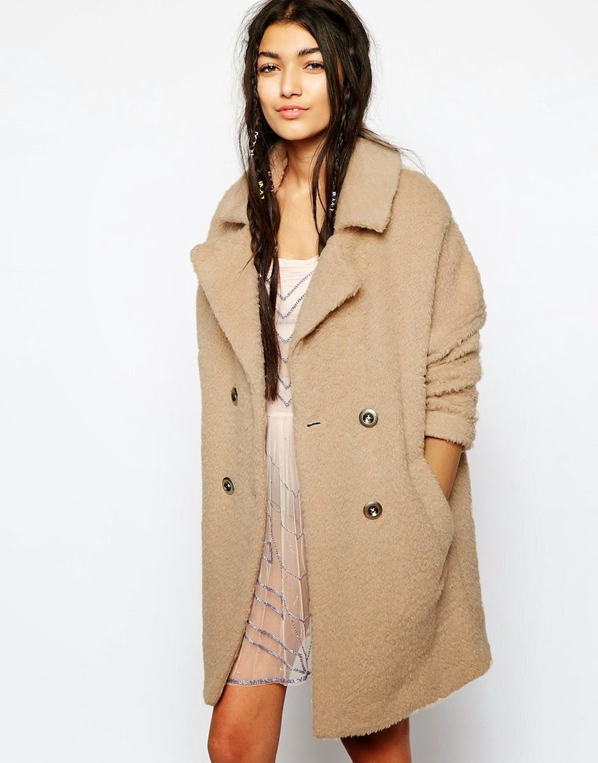 fluffy beige coat