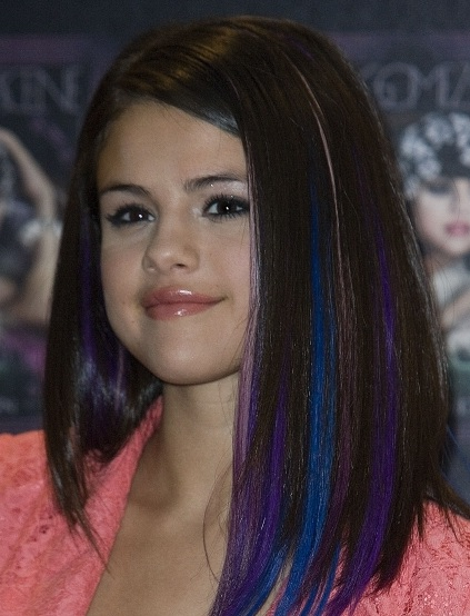 blue and purple highlights selena