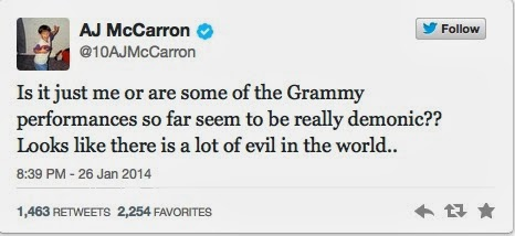A.J. McCarron thought the Grammy's were demonic.