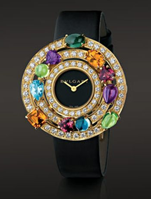 luxury bvlgari astrale watch with yellow gold, diamonds and coloured jewels 2012