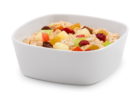 cooked oatmeal with dried and fresh fruits