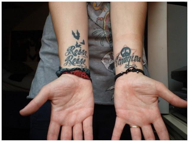 tattoo, tattoos, ink, rammstein, bats, reise reise, bats, imagine, wrist, john lennon, music, star, script
