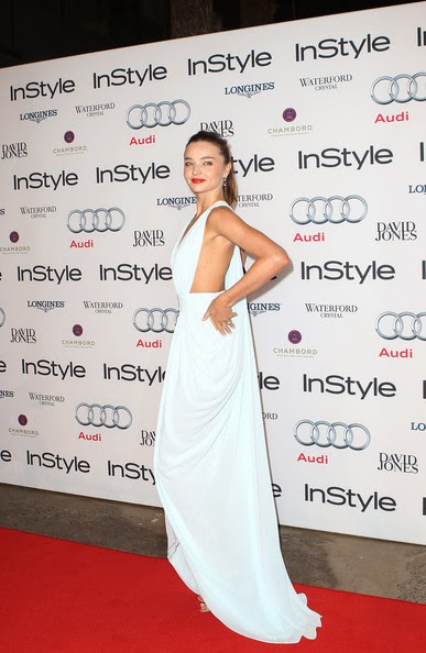 Miranda Kerr in a floaty powder-blue gown from Australian designer Carla Zampatti at the 2012 Women Of Style Awards held at the Carriage Works on May 15, 2012 in Sydney, Australia.