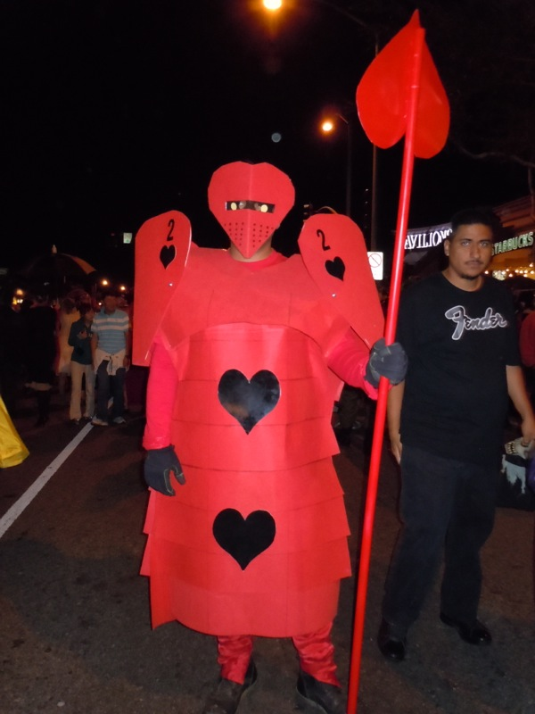 Red Queen guard costume West Hollywood Halloween Carnaval