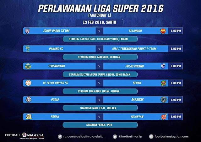 jadual penuh liga super 2016