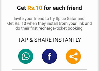 spice safer recharge trick on refer and earn offer