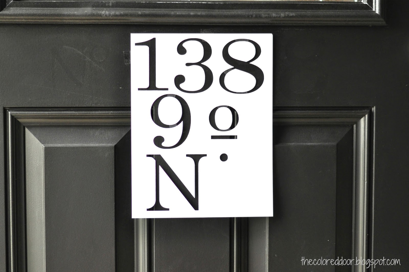 Painted address on door | the colored door