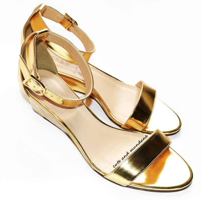 Metallic Gold Wedge Heels