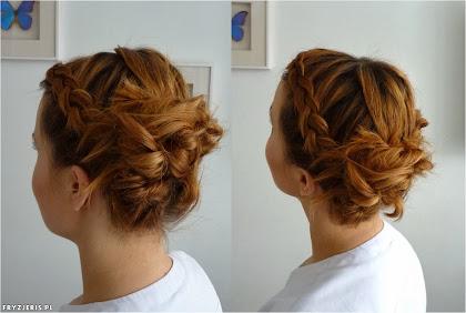 Upięcie z warkoczami na średniej długości włosów - zdjęcie