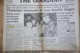 The Guardian Newspaper headlines from the Falklands War: 16 June 1982-Thatcher Triumphs as War Doubts Linger