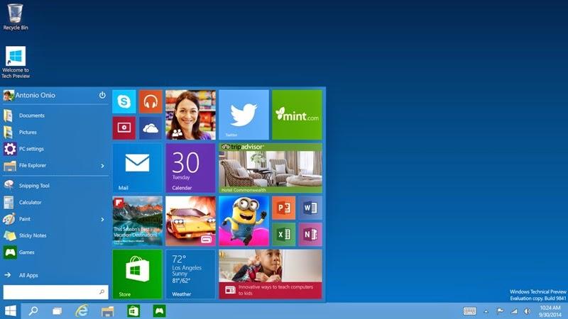 Fitur Baru Windows 10 dengan Start Menu