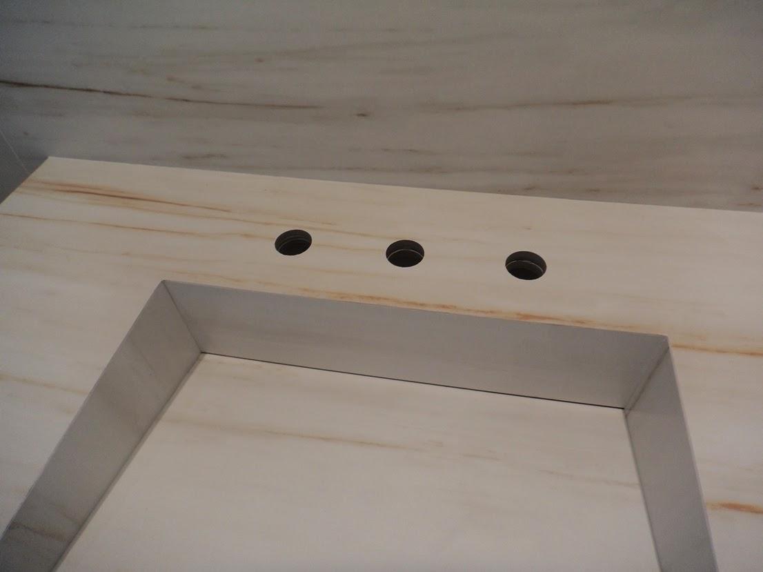 Bancada com cuba em porcelanato Portobello BIANCO DI ARISTON 60X120  #685C51 1106x829