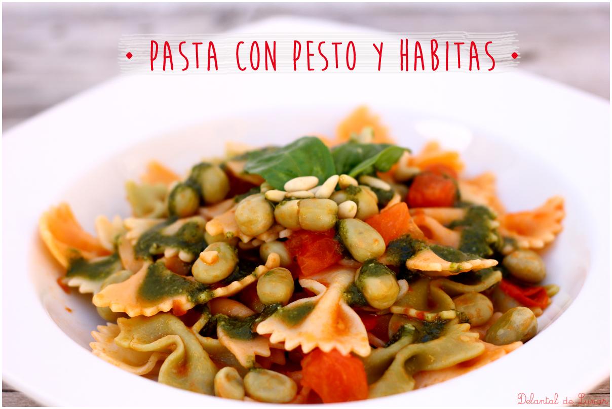 Foto: Receta de pasta con salsa pesto y habitas