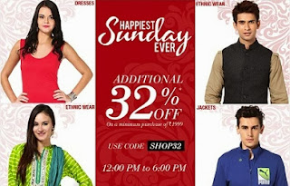 (Expired) Jabong 6 Hours Happiest Hour Sale: Additional 32% off on Rs.1999 (Offer Valid till 6.00 PM Today)