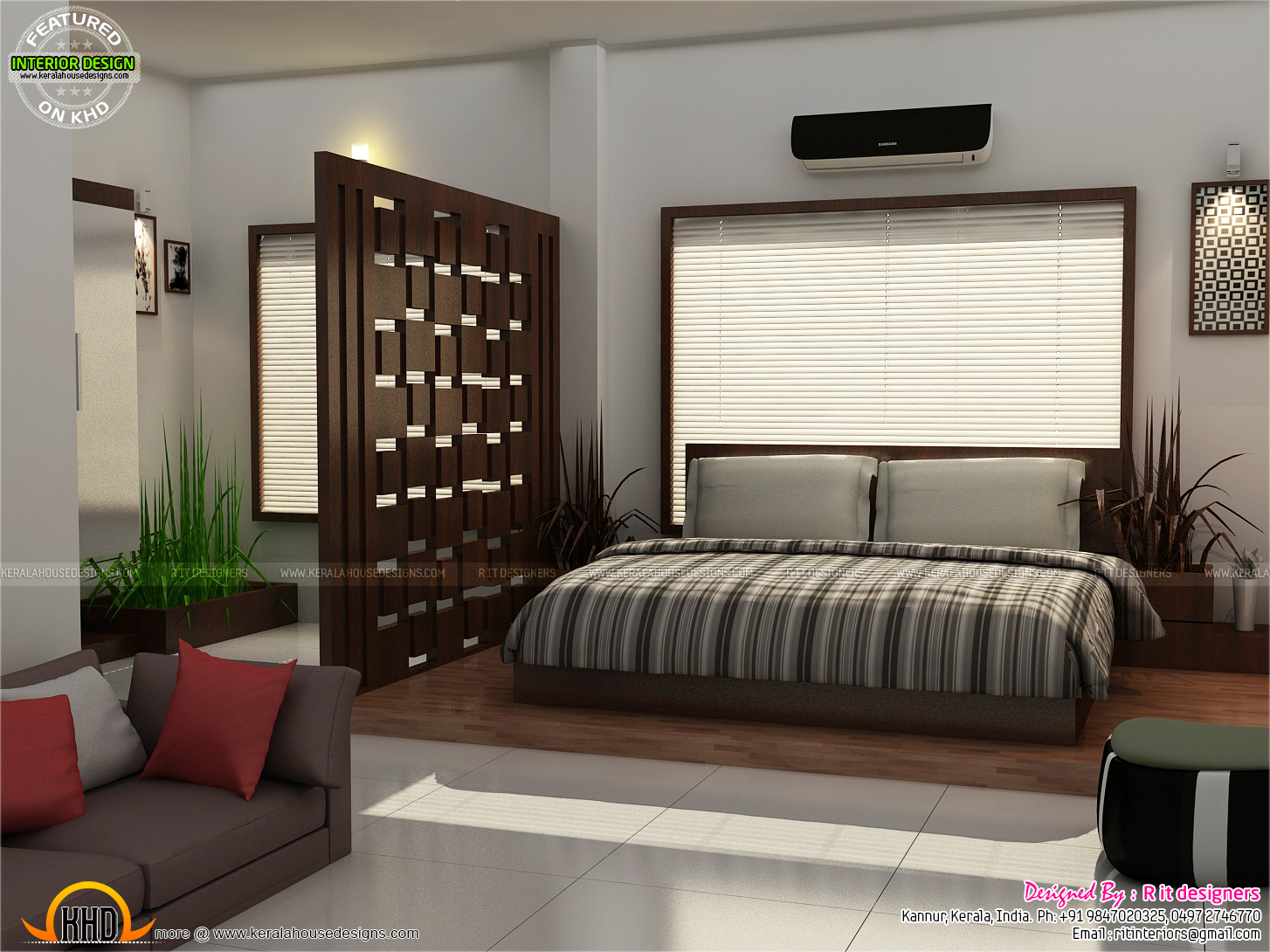 Beautiful living room bedroom kitchen kerala home for Apartment design kerala