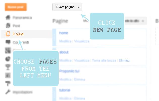 come inserire le pagine in Blogger