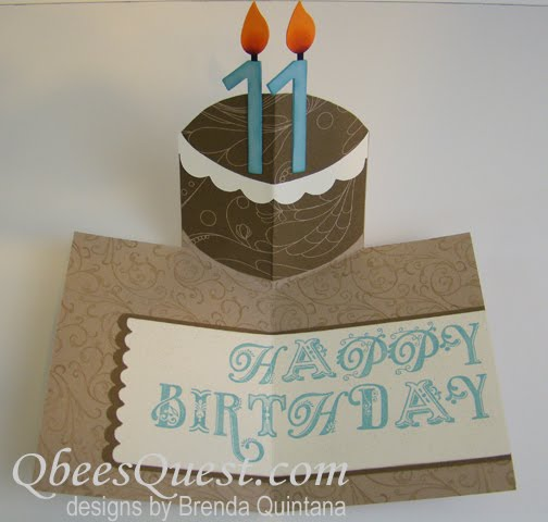 Qbees Quest Birthday Cake Pop Up Card