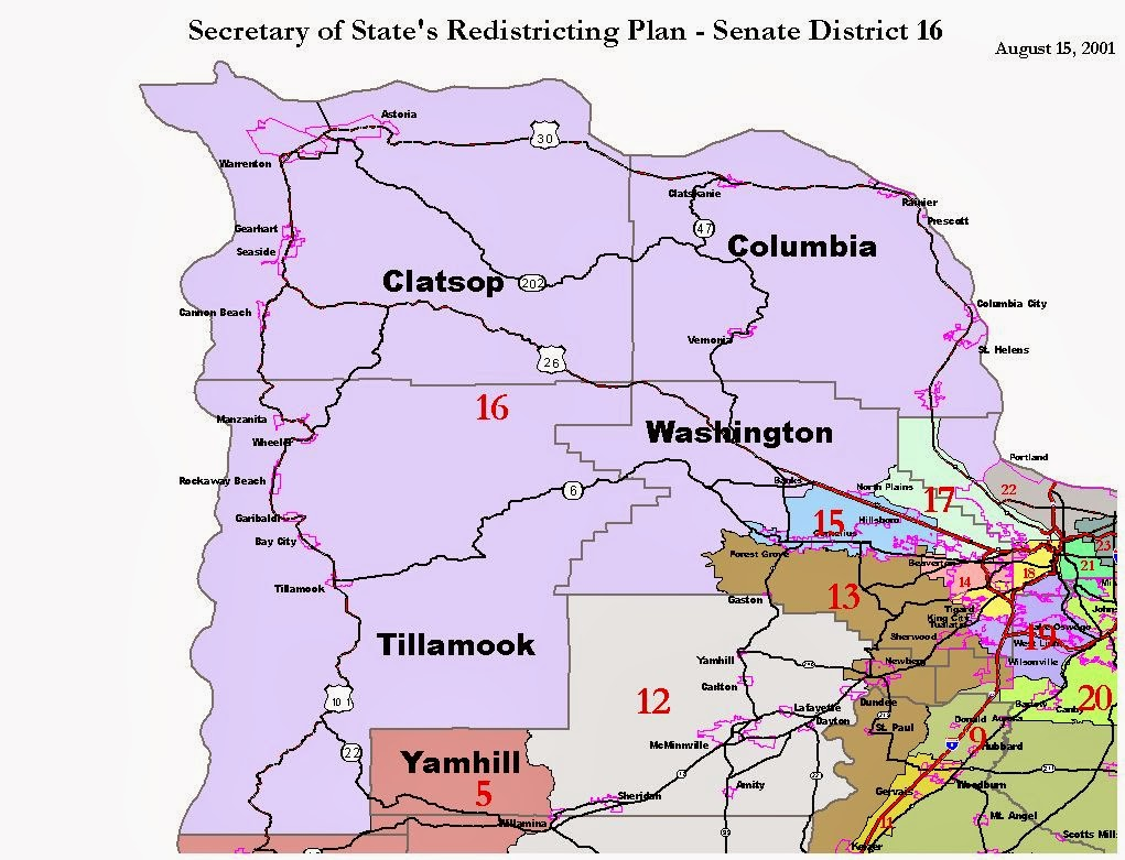Oregon Map Clatsop County