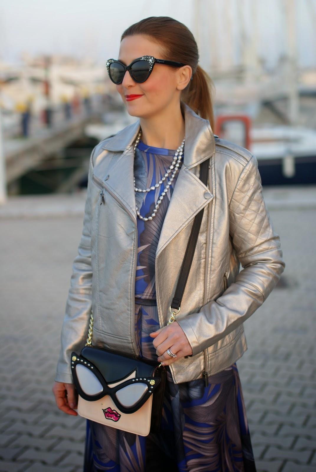 Betsey Johnson crossbody bag, dsquared2 cat eye sunglasses, silver jacket, scuba midi skirt, Asos silver jacket, Fashion and Cookies fashion blog, fashion blogger
