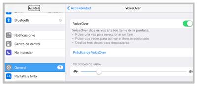 Para activar VoiceOver, simplemente entro a Ajustes en el iPad, selecciono General  > Accesibilidad y doy clic al botón VoiceOver.