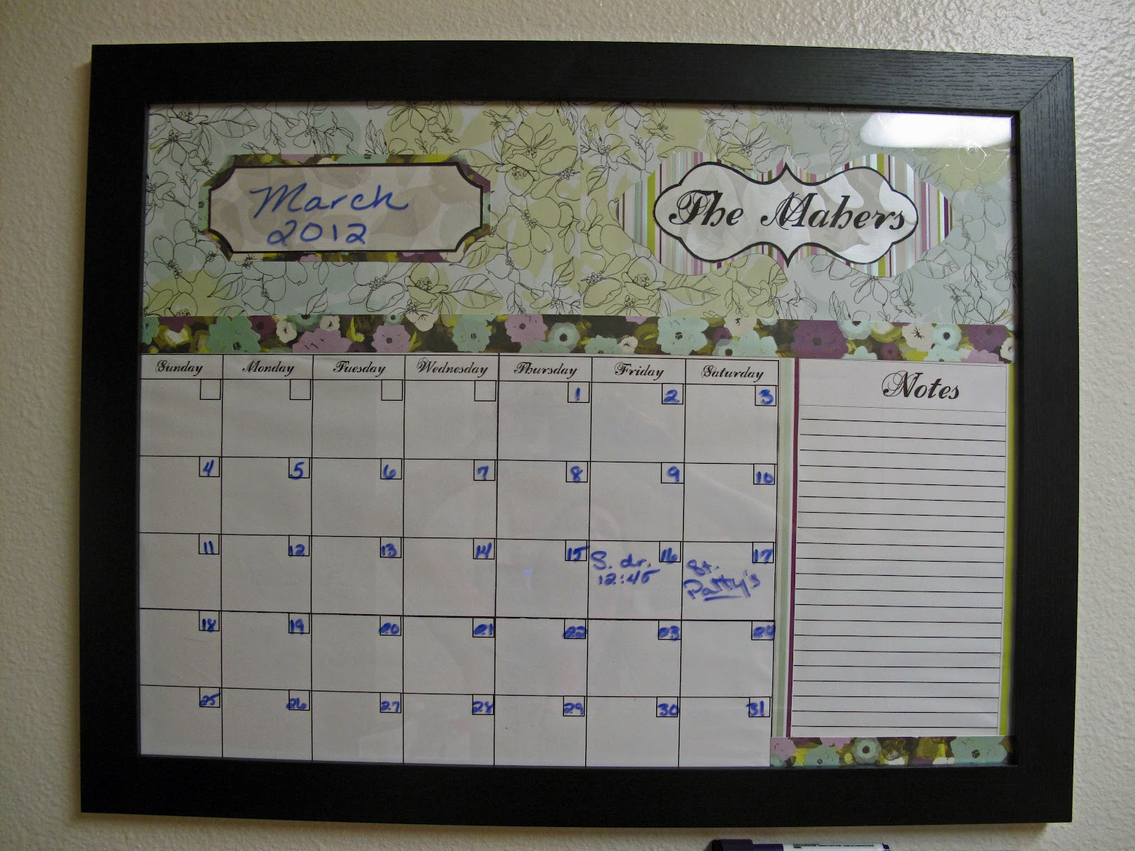 Diy Calendar Dry Erase : Crafty capable diy dry erase calendar and weekly menu