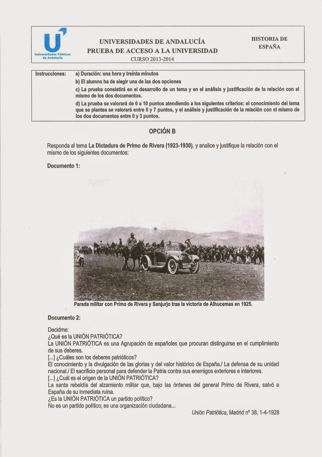 PAU Historia de España junio 2014 Andalucía Opción B Selectividad