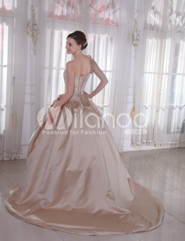 Magnifique balayage sweetheart satin Champagne Womens robe de mariée de luxe