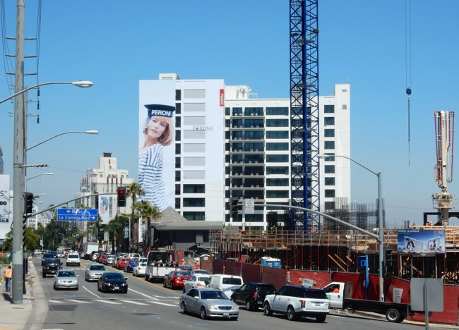 Giant Peroni beer Sailor Girl billboard West Hollywood